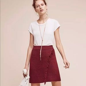Maeve Burgundy Fringed Arnhem Sweater Skirt